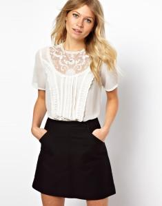 Blouse With Lace Bib And Pintuck Placket